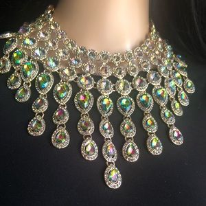 Statement necklace, gold tone setting